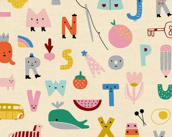 Animal Alphabet Collection - Cream - ABC Alphabet - Quilting Cotton Fabric - by Suzy Ultman of Paintbrush Studio - ( PSF120-21823 )
