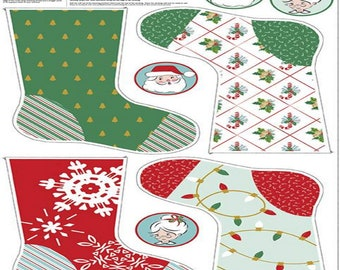 "SALE - Santa Claus Lane Collection - Stocking Panel #2 Sparkle - 24""x44"" - by Melissa Mortenson for Riley Blake Designs - ( SP9617-2 )"