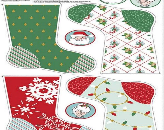 "SALE - Santa Claus Lane - Stocking Panel #2 Sparkle - 24""x44"" - Melissa Mortenson for Riley Blake Designs - ( SP9617-2 )"