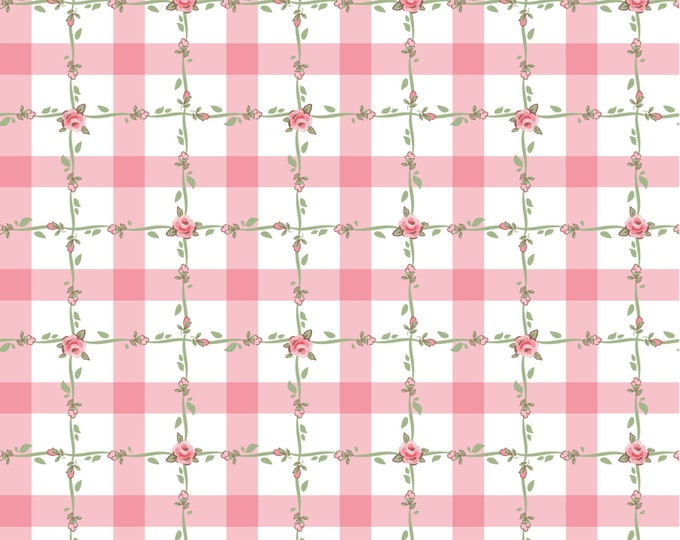 Pink - Criss Cross - Dots and Posies Collection - Quilting Cotton Fabric - by Poppie Cotton Fabrics - ( DP20419 )