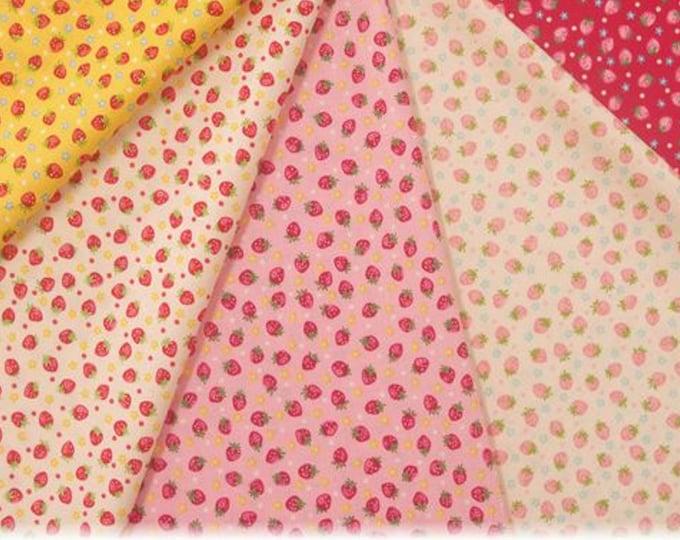 Fat Quarter Bundle - Strawberries - Little Strawberry Generation Collection - by Atsuko Matsuyama - 5 Fabrics - ( AMSTRAW-FQ )