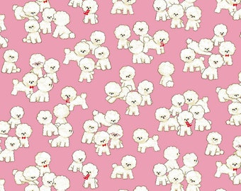 Lightweight Canvas - Pink - Dogs - Cotton Linen - Japanese Fabric - by Cosmo - ( COSAP05405-1B )