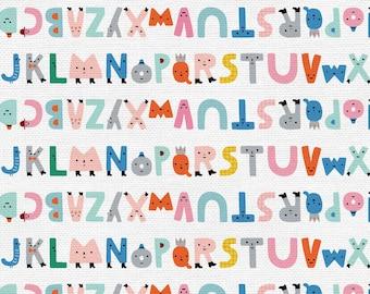 Animal Alphabet Collection - Multi Color - Alphabet Stripe - Quilting Cotton Fabric - by Suzy Ultman of Paintbrush Studio - ( PSF120-21824 )