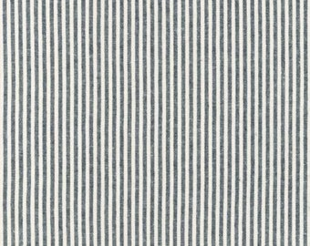Indigo - Essex - Yarn Dyed - Woven - Linen Cotton - Vertical Stripes - by Robert Kaufman - ( SRK1758762 )