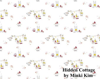 Hidden Cottage - Friends - Offwhite - Quilting Cotton Fabric - by Minki Kim for Riley Blake Designs - ( C10762-OFFWHITE )