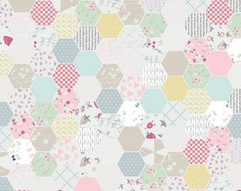 White - Hexagon - Moments Collection - Quilting Cotton Fabric - Minki Kim for Riley Blake Designs - ( 9012-WHITE )