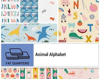 Animal Alphabet Collection - Animals - Fat Quarter Bundle - 8 Fabrics - Quilting Fabric - by Suzy Ultman - ( PSF120FQAA )