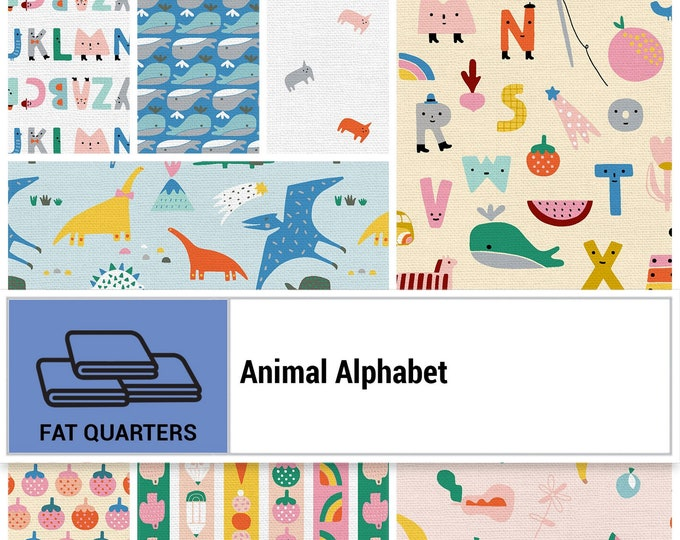 Animal Alphabet Collection - Animals - Fat Quarter Bundle - 8 Fabrics - Quilting Fabric - by Suzy Ultman - ( PSF120FQAA )