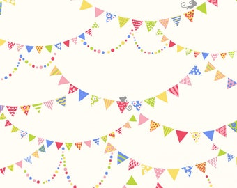 Kids Land - Banners with Mice - Cream - 100% Cotton - Poplin - Cosmo - ( COSSP2100-4A )