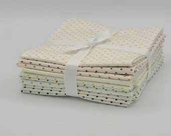 Le Creme Swiss Dot - Fat Quarter - Curated Bundle - Assorted Color - Dots Collection of Riley Blake Designs - Quilting Cotton Fabric