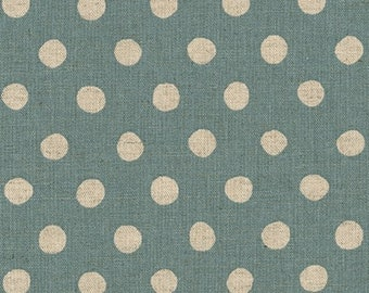 """Canvas - Denim - 1/2"""" inch Natural Dots - Cotton Flax Canvas - 43/44"""" inches wide - by Sevenberry - Robert Kaufman - ( SB-88185D2-5 )"""