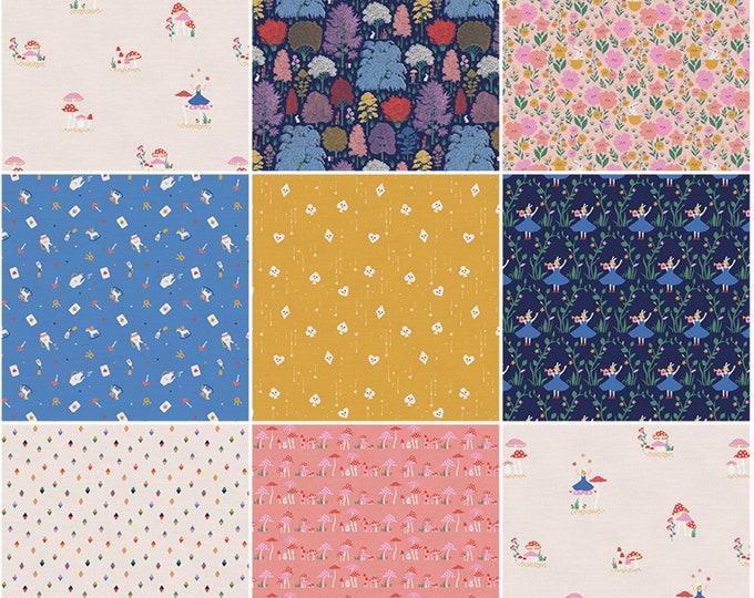 Mad Tea Party - Alice in Wonderland - 8 cuttable Fat Quarter Flat Stack - Pink - by Bikini sous la Pluie - Paint Brush Studios -( 120FQTEA )
