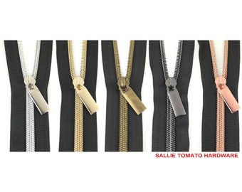 "Nylon Coil Zippers - Black - #5 - 3 Yard: 36"" x 43""s with 9 Pulls - Multiple Colors - by Sallie Tomato - ( ZBY5C-BLACK )"