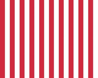 Stripes Collection - Red and White - 1/2 Half Inch Stripe - Quilting Cotton Fabric - Riley Blake Designs - ( C530-80-RED )