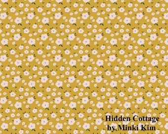 Hidden Cottage - Blooms - Butterscotch - Quilting Cotton Fabric - by Minki Kim for Riley Blake Designs - ( C10766-BUTTERSCOTCH )