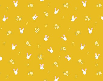 Easter Egg Hunt Collection - Mustard - Bunnies - Quilting Cotton Fabric - by Natàlia Juan Abelló for Riley Blake Designs -( C10273-MUSTARD )