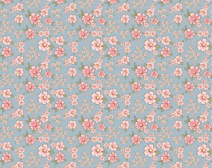 Blue - Mini Fleurs - Dots and Posies Collection - Quilting Cotton Fabric - by Poppie Cotton Fabrics - ( DP20414 )