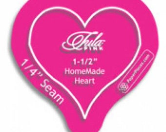 """Acrylic Template - Heart - 1.5"""" inch 1-1/2""""  inch with 1/4in Seam Allowance - Acrylic Fabric Cutting Template - ( HEART150 )"""