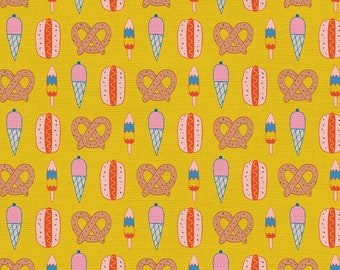 Step Right Up Collection - Yellow - Mustard - Snack Shack - Quilting Cotton Fabric - by Suzy Ultman for Paintbrush Studios -( PSF120-21355 )