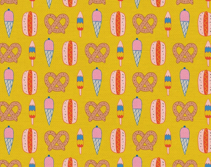 Yellow - Mustard - Snack Shack - Step Right Up Collection - Quilting Cotton Fabric - by Suzy Ultman for Paintbrush Studios -( PSF120-21355 )