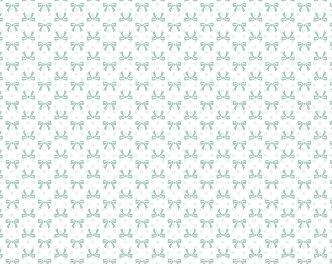 White - Bows - Dots and Posies Collection - Quilting Cotton Fabric - by Poppie Cotton Fabrics - ( DP20406 )