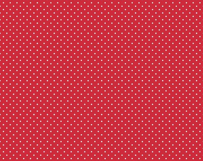 Red - Swiss Dot with White Dots -  Polka Dot - Quilting Cotton Fabric - Riley Blake Designs - ( C670-80-RED )