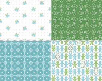 SALE - Cozy Christmas Collection - Green - Fat Quarter Panel - by Lori Holt of Bee in My Bonnet for Riley Blake Designs - ( FQP-7974-GREEN )