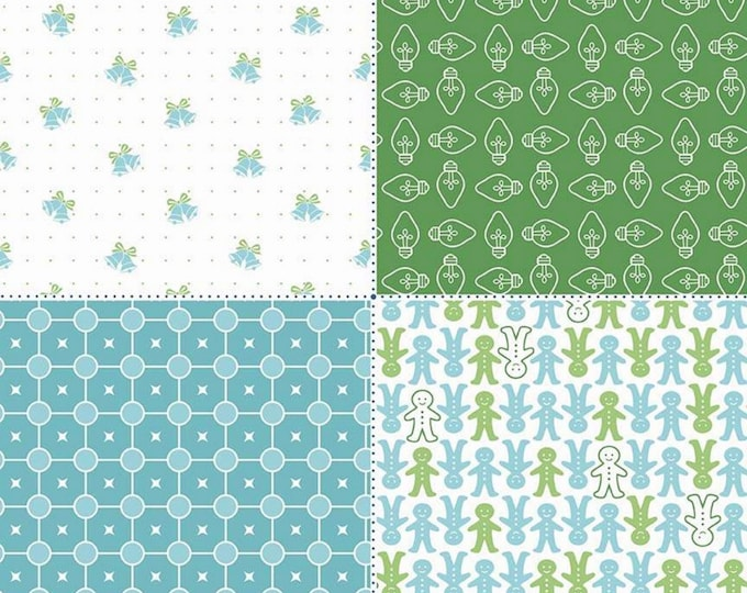 SALE - Green - Fat Quarter Panel - Cozy Christmas Collection - Lori Holt of Bee in My Bonnet for Riley Blake Designs - ( FQP-7974-GREEN )