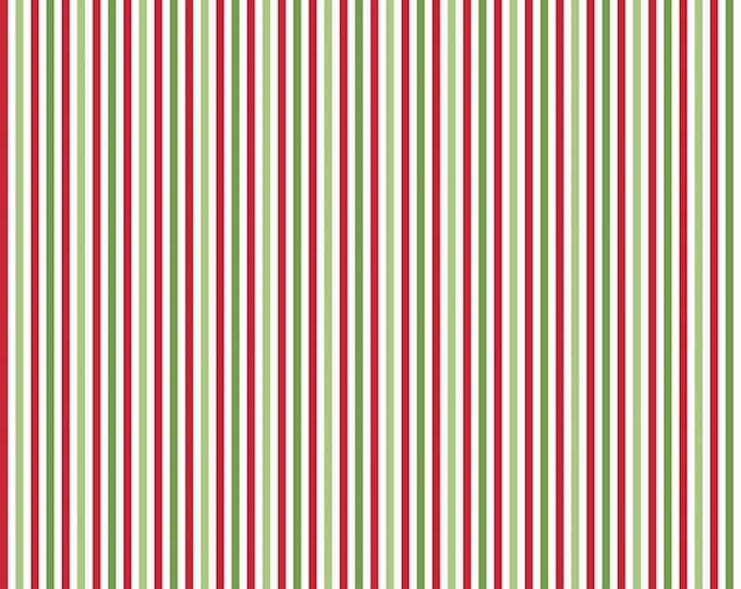 Christmas - 1/8 Eighth Inch Stripe - Red, Green, & White - Quilting Cotton Fabric - Riley Blake Designs - ( C495-CHRISTMAS)
