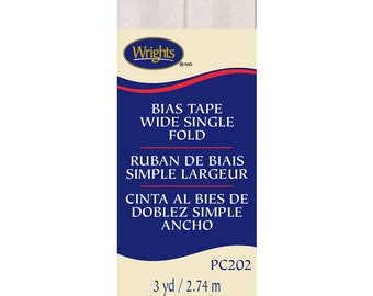 "Bias Tape - Oyster - Wide Single Fold - 7/8"" inch x 3 Yard: 36"" x 43""s - by Wrights - ( BiasTape-202-28 )"