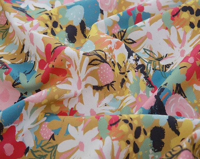 Cottonvill - Bloom Collection - 1 Yard Precut by Manufacturer - Quilting Cotton Fabric - ( Cottonvill )