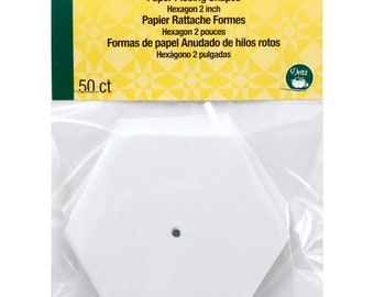 """Paper Piecing - 2"""" inch - Hexagon Papers - English Paper Piecing - 50 Count - by Dritz Quilting - ( DRI3232 )"""