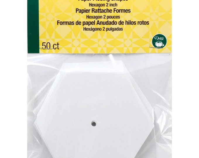 "Paper Piecing - 2"" inch - Hexagon Papers - English Paper Piecing - 50 Count - by Dritz Quilting - ( DRI3232 )"