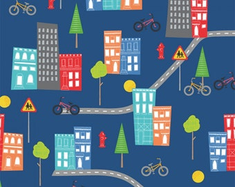 Blue - My Neighborhood - Around Town Collection - Quilting Cotton Fabric - Whistler Studios for Windham - ( 51837-2 )