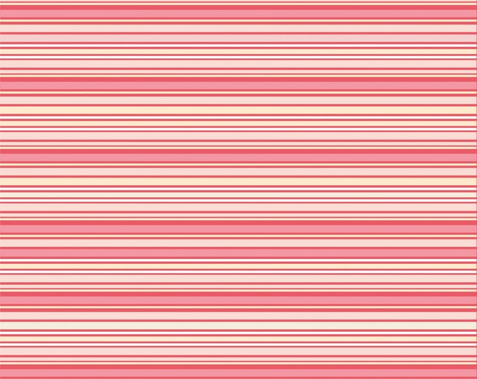 Pink - Stripes - Dots and Posies Collection - Quilting Cotton Fabric - by Poppie Cotton Fabrics - ( DP20404 )