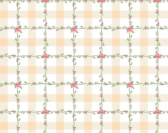 Dots and Posies Collection - White - Criss Cross - Quilting Cotton Fabric - by Poppie Cotton Fabrics - ( DP20418 )