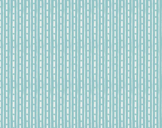Aqua - Stripe - Abbies Garden Collection - Quilting Cotton - Sue Daley Designs with Gabrielle Neil for Riley Blake Designs -( C9574-AQUA )