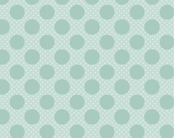Dots and Posies Collection - Teal - Dots on Dots - Quilting Cotton Fabric - by Poppie Cotton Fabrics - ( DP20417 )