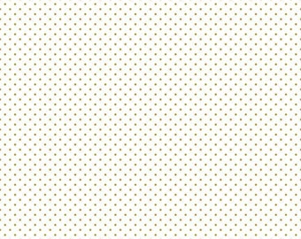 Swiss Dot on White Collection - Gold Sparkle - Polka Dot - Quilting Cotton Fabric - Riley Blake Designs - ( SC660-GOLD )