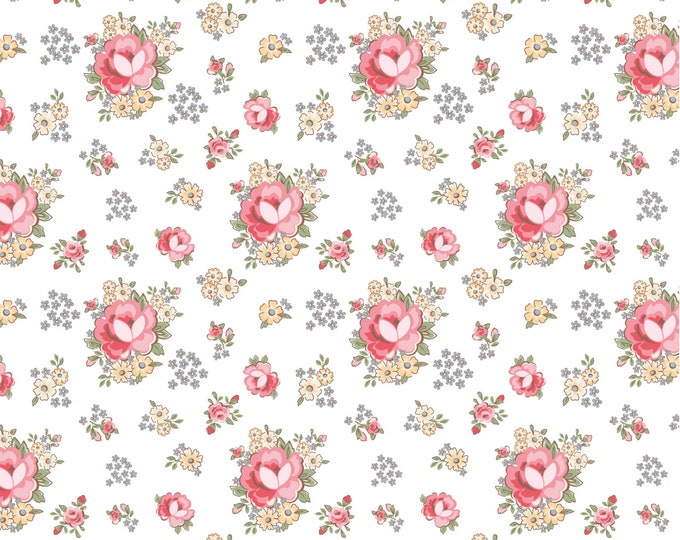 White - Prim Roses - Dots and Posies Collection - Quilting Cotton Fabric - by Poppie Cotton Fabrics - ( DP20409 )