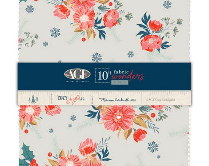 """Cozy and Joyful - 10"""" inch Stacker - Quilting Fabric - By Maureen Cracknell for Art Gallery Designs - ( 10W-CJO )"""