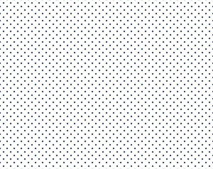 Navy - Swiss Dot on White -  Polka Dot - Quilting Cotton Fabric - Riley Blake Designs - ( C660-21-NAVY )