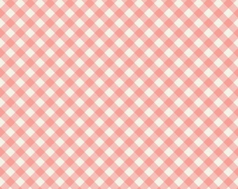 Gingham Gardens Collection  - Coral - Checkered - Quilting Cotton Fabric - by My Mind's Eye for Riley Blake Designs - ( C10355-CORAL )
