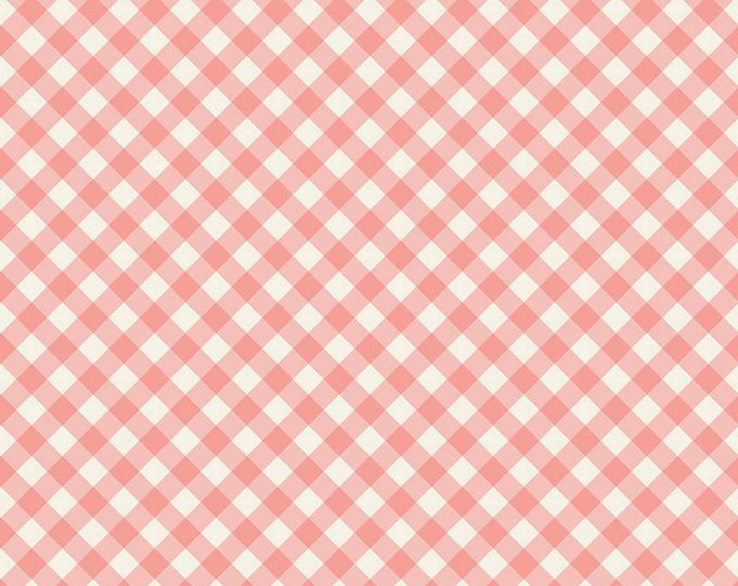 Coral - Check - Gingham Gardens Collection - Quilting Cotton Fabric - by My Mind's Eye for Riley Blake Designs - ( C10355-CORAL )