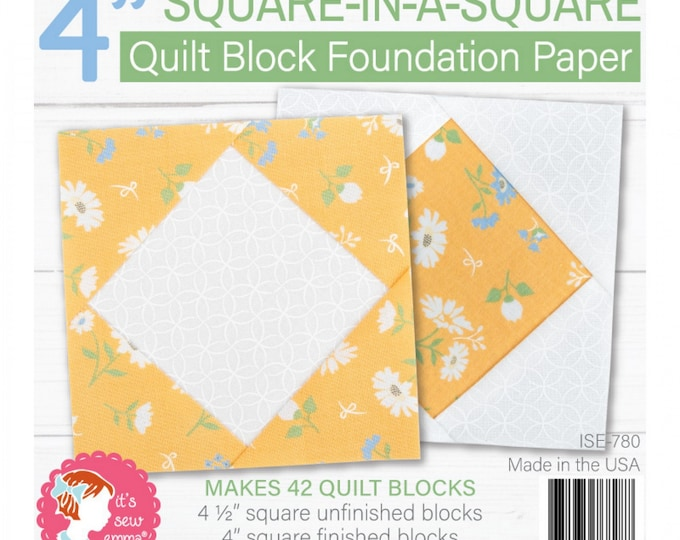 "Square in a Square - 4"" inch - Quilt Block Foundation Paper - Paper Pad - by Its Sew Emma - ( ISE-780 )"