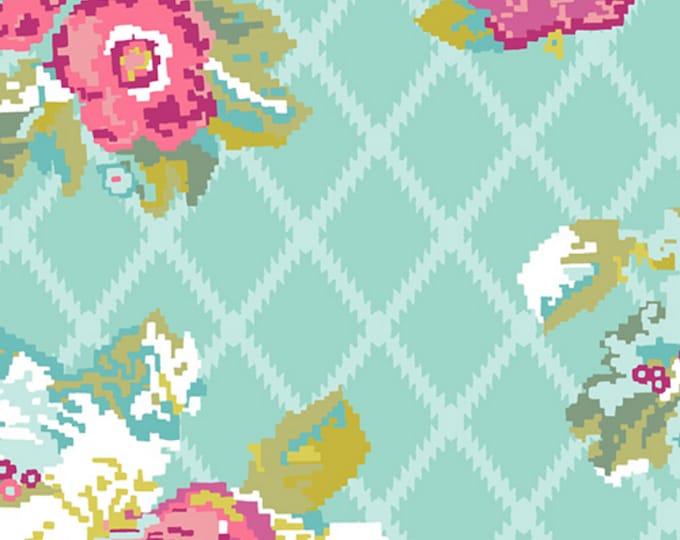 Aqua - Petalbit Trellis - GRID Collection - Quilting Cotton Fabric - by Katarina Roccella for Art Gallery Fabrics - AGF - ( GRI-40406 )