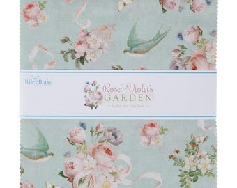 """Rose & Violet's Garden - 10"""" inch Stacker - Collection - Quilting - by Miss Rose Sister Violet for Riley Blake Designs - ( 10-10410-42 )"""