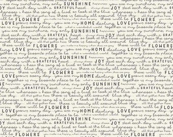 Cream - Text - Gingham Gardens Collection - Quilting Cotton Fabric - by My Mind's Eye for Riley Blake Designs - ( C10354-CREAM )