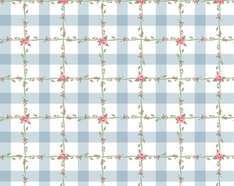 Dots and Posies Collection - Blue - Criss Cross - Quilting Cotton Fabric - by Poppie Cotton Fabrics - ( DP20420 )