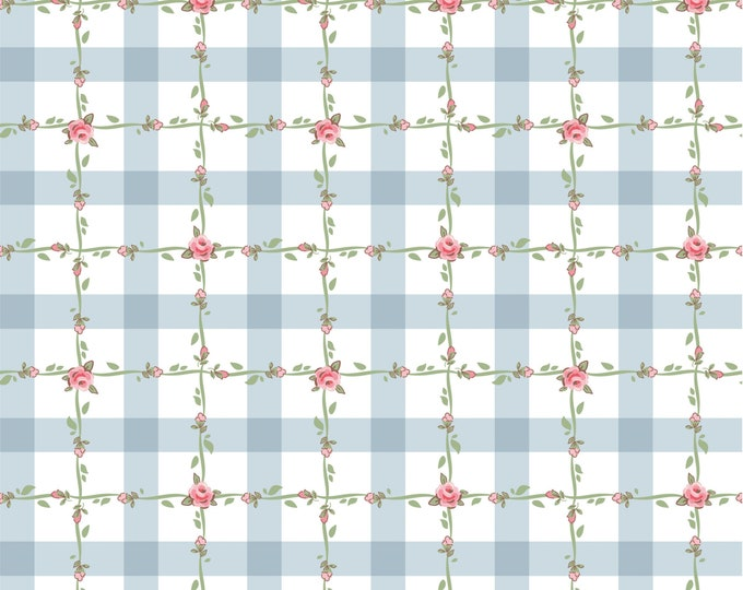 Blue - Criss Cross - Dots and Posies Collection - Quilting Cotton Fabric - by Poppie Cotton Fabrics - ( DP20420 )